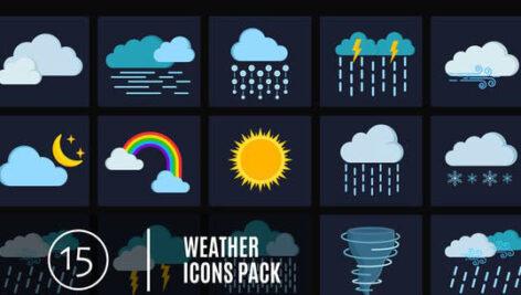 پروژه افتر افکت پکیج ۱۵ آیکون وضعیت آب و هوا  ۱۵ Weather Icons Pack